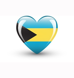 Heart-shaped icon with national flag of bahamas vector
