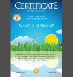 Colorful ecology retro design certificate vector