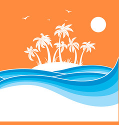 Tropical island with palmssea waves blue vector