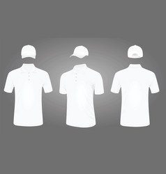 white baseball cap and polo t shirt vector image