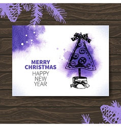 Watercolor christmas hand drawn card vector