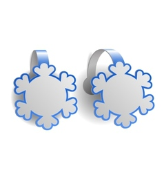Blue advertising wobblers shaped like snowflakes vector image