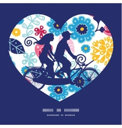 Fairytale flowers couple on tandem bicycle heart vector
