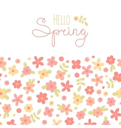 Sizon card hello spring with cute flowers vector