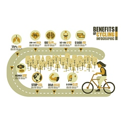 The benefits of cycling earth tone on street vector