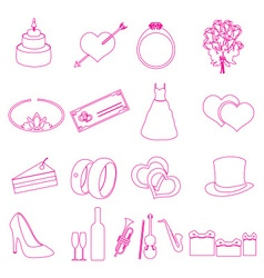Simple wedding red outline icons set eps10 vector
