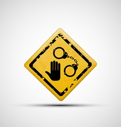 Sign handcuffs and palm vector