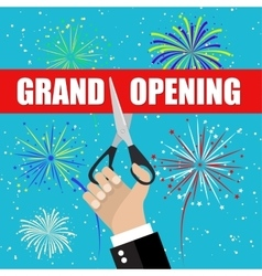 Grand opening with fireworks vector