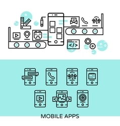 Mobile Apps Linear Composition vector image