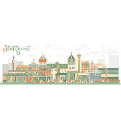 abstract stuttgart skyline with color buildings vector image vector image