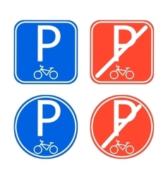 Bike parking sign allowed and disallowed vector