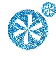 Blue-white snowflake simple single color icon vector