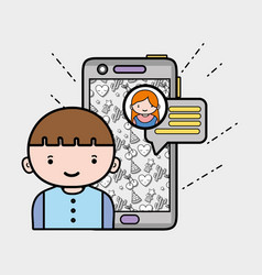Boy chatting with girl in whatsapp chat bubble vector