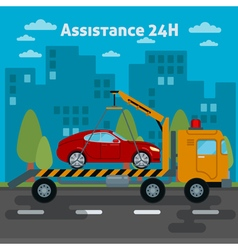 Car assistance roadside assistance car tow truck vector