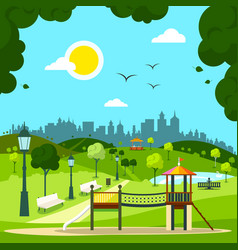 city garden with childrens playground and city vector image vector image