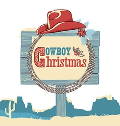Cowboy christmas text on wood board isolated on vector