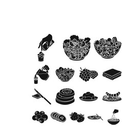 Dessert fragrant black icons in set collection for vector
