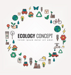 Ecology and environment icons round thin line vector