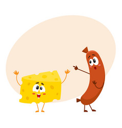 Embarrassed frankfurter sausage character pointing vector