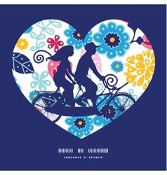 Fairytale flowers couple on tandem bicycle heart vector