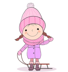 Girl and sled vector