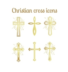 Golden christian cross icons set vector image vector image