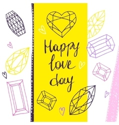 Happy love day geometric hand drawn vector