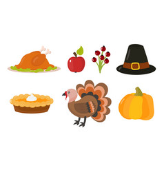 Happy thanksgiving day symbols design holiday vector