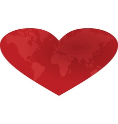 Heart with worl map inside vector image vector image