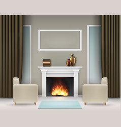 Interior with fireplace vector