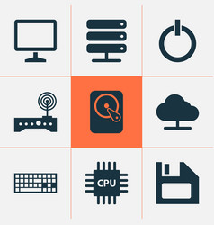 Notebook icons set collection of router diskette vector