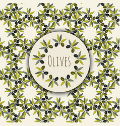 Olives branches frame and kitchen seamless vector