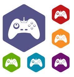 One joystick icons set hexagon vector
