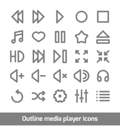 Outline media player icons set vector image vector image
