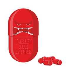 Pill of anger red tablet with a scary face vector