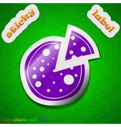 Pizza icon sign symbol chic colored sticky label vector