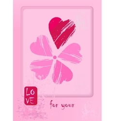 Postcard for Valentin day with flower has a petals vector image