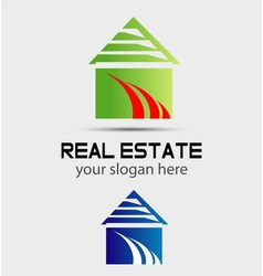 Real estate logo icon design template with house vector image vector image