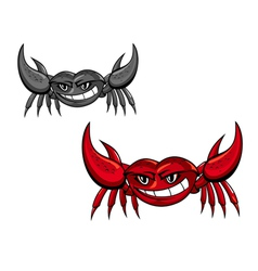 Red crab with claws vector