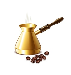 Retro coffee pot and grains isolated vector image vector image