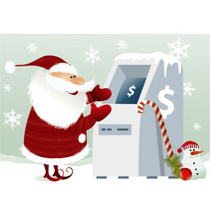 Santa claus and cash machine vector