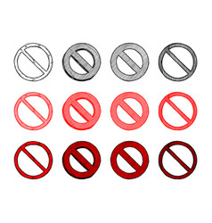 set of prohibition sign vector image vector image