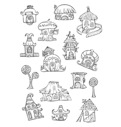 Sketch of cartoon houses vector