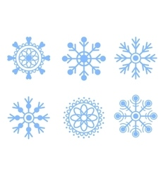 Snowflakes blue icon set vector image vector image