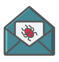 Virus in email colorful line icon spam vector