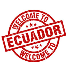 Welcome to ecuador red stamp vector