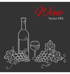 Wine bottle glass and grapes vector image vector image