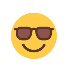 Yellow smiling cartoon face in sun glasses emoji vector