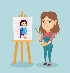 Young caucasian artist painting a portrait vector
