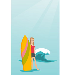 Young caucasian surfer holding a surfboard vector